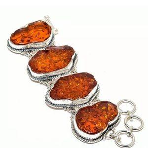 """Baltic Amber Vintage 925 Silver Bracelet 7-8"""""""